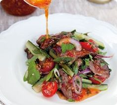 Thai-style beef salad A vibrant beef salad with homemade chilli jam Asian Recipes, Beef Recipes, Cooking Recipes, Healthy Recipes, Easy Recipes, Healthy Foods, Thai Beef Salad, Gastro, Thai Dishes