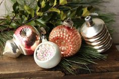 Vintage Glass Indent Ornaments  Japanese by PhoebesTreasureChest