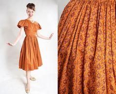 Vintage 1950s Orange Cotton Dress  Full Skirt Puffy by AlexSandras
