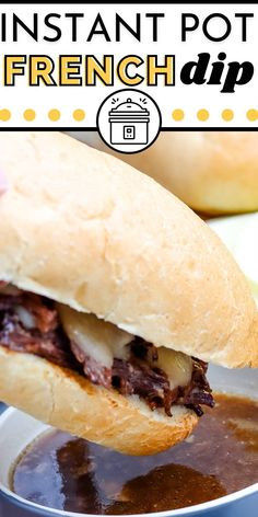 This Instant Pot French Dip Recipe is great when feeding a crowd. Chuck roast is pressure-cooked until it's melt-in-your-mouth tender and then served on hoagie rolls with Provolone cheese. via @easybudgetrecipes Budget Meals, Easy Budget, Budget Recipes, Easy Holiday Recipes, Summer Recipes, French Dip Recipes, Instant Pot French Dip, Crockpot Recipes, Cooking Recipes