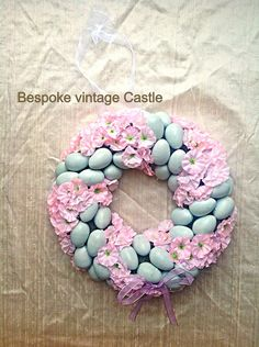 Easter wreath, pastel flowers, Easter egg, spring wreath, shabby chic, seasonal, Easter, handmade wreath, pink, blue egg, baby's breath on Etsy, £12.99