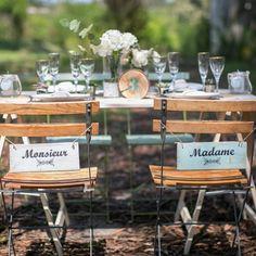 """Lot de 2 pancartes menthe """"madame"""" """"monsieur"""" pour chaise pour mariage"""
