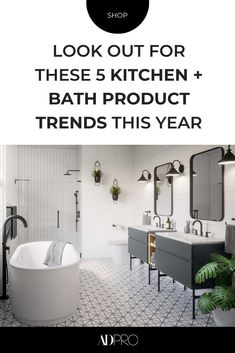 From customizable faucets to technologically advanced ovens, these products for your kitchen and bath are going to be the hot new items for designers and renovators this year. #dining #island #sink #stove #stovetop #hardware #tech #technology #trends #finishes #materials #renovation #reno #sourcing #microwave #appliances #black #color #palette #features #cooking #cook