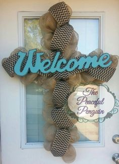 Burlap Mesh Cross Wreath with Blue Welcome by ThePeacefulPenguin, $80.00