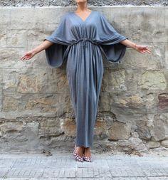 Grey Caftan Maxi Dress Caftan Dress Black by cherryblossomsdress