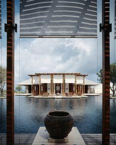 Exclusive Interview with Luxury Hotel Architect Jean-Michel Gathy Villa Design, House Design, Hotel Lobby, Honeymoon Getaways, Indochine, Hotel Interiors, Resort Style, Resort Spa, Maldives Resort