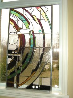 Untitled abstract Stained Glass Panel by Gary Wilkinson