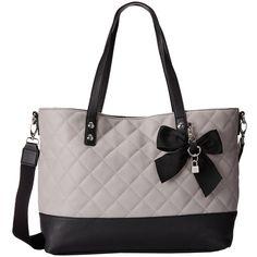 Jessica Simpson Helen Tote (Light Grey/Black) Tote Handbags ($45) ❤ liked on Polyvore featuring bags, handbags, tote bags, multi, handbags purses, vegan leather tote, structured tote, tote purse and jessica simpson purses
