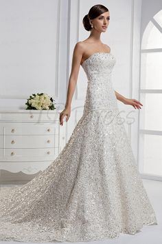 40+ Stunning Wedding Dresses 2014 2015 : Stunning Mermaid Strapless Floor Length Chapel Train Wedding Dress