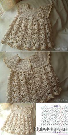 vestido calado para los pequeñ |  Crochet