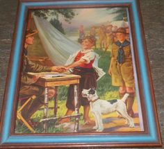 Gorgeous Old Vintage Print Little Boy Boyscouts & Dog in Wood Frame With Glass #Vintage
