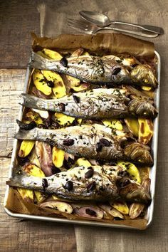 Roasted Sea Bass With Potatoes, Capers and Olives