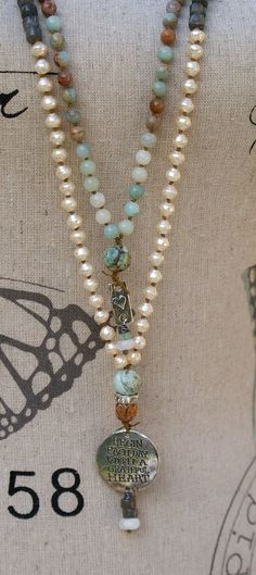 Rustic long knotted  Rustic long knotted necklace earthy boho chic