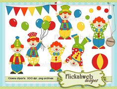 Clowns digital clipart set Commerical Use for Paper Crafts INSTANT DOWNLOAD $3.00 Paper Goods printable clowns clown clip art birthday circus carnival DIY commercial party cliparts clipart digital