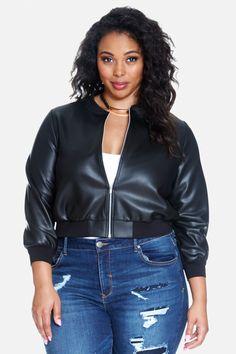Plus Size Calyx Faux Leather Bomber Jacket