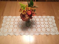 Vintage hand crocheted lace table runner by Finderie
