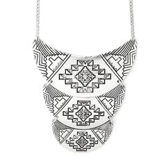Antique Silver Aztec Imprint Statement Necklace | Icing
