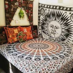 home accessory hippie wall hanging wall tapestry moon and sun hippie
