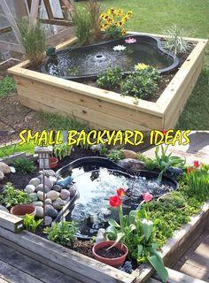 Ideas For Small Backyard Patio Ideas Fish Ponds Small Backyard Patio, Backyard Water Feature, Ponds Backyard, Backyard Landscaping, Backyard Ideas, Outdoor Fish Ponds, Landscaping Borders, Landscaping Ideas, Outdoor Fountains