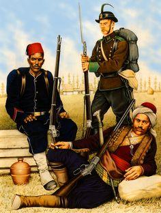 Turkish Bashi-Bazouk, Egyptian infantryman and Romanian chasseur during the Russo-Turkish War 1877