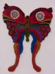 Freeform crocheted Butterfly by Ann*Benoot, inspired by Zentangle Drawing of power animals. Textile art 'painting' 40x50 cm. The proceeds of the sale of my artwork goes to charity.