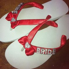 cdbb5c2d6dd81 Wedding Flip Flops Thongs with BRIDE in silver or gold letters and a heart  bow