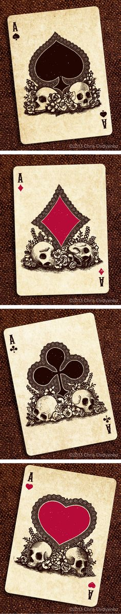 A♠ A♦ A♣ A♥ Calaveras — Playing cards inspired by the Day of the Dead
