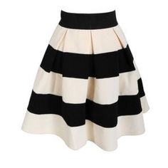 Find Out Where To Get The Skirt ❤ liked on Polyvore featuring skirts, pleated a line skirt, striped pleated skirt, knee length pleated skirt, knee length a line skirt and striped skirts