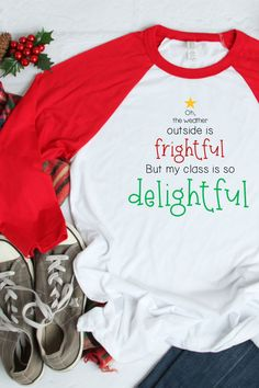 """These teacher raglans are perfect to wear in December leading up to Christmas break. With a play on """"Let it Snow"""" this teacher shirt shows your love and appreciation for your students. These comfortable teacher raglan shirts come in red or kelly green sleeves."""