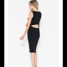 "Open Back Midi Dress in Black Open Back Midi Dress in Black. Available in Small and Medium. Brand new from LA Fashion District. 95% Cotton, 5% Spandex. Measurements*:  Small: 15"" Bust 34"" Length (from neckline)   Medium: 34""Length (from neckline) 16"" Bust  *Note: As with all retail clothing, measurements may vary up to 1 inch from item to item. Dresses Midi"