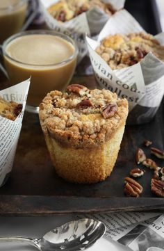 These Pecan Coffee Cake Muffins have a crunchy cinnamon streusel topping that sits atop tender buttery cake.