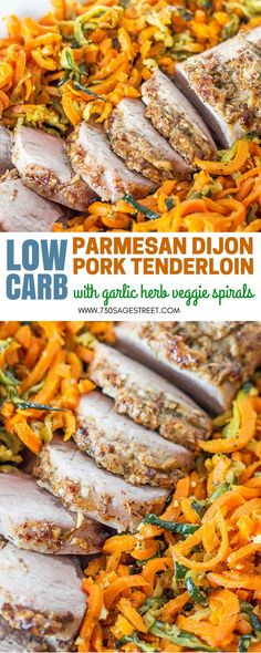 Get a delicious dinner on the table quickly with this low carb Parmesan Dijon pork tenderloin. Add a side dish of garlic herb zoodles to complete the #recipe #recipeideas #porktenderloin #sidedish