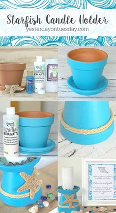 How to DIY a Starfish Candle Holder out of a flower pot. A easy beachy craft and… How to DIY a Starfish Candle Holder out of a flower pot. A easy beachy craft and decor project, plus lovely printable inspirational art. Seashell Crafts, Beach Crafts, Summer Crafts, Beach Themed Crafts, Clay Pot Projects, Clay Pot Crafts, Garden Projects, Plate Crafts, Diy Clay
