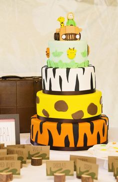 Adorable safari animal cake from a African Inspired Safari Themed Birthday Party via Kara's Party Ideas | KarasPartyIdeas.com (28)
