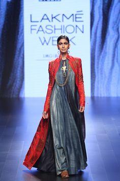 Look 16 Pojagi Patchwork Red Long Jacket with 16 shades indigo long kurta
