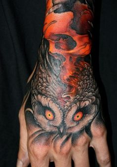 Horrible Scary Face Of Owl Tattoo