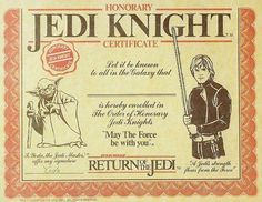 Jedi certificate for goodie bags