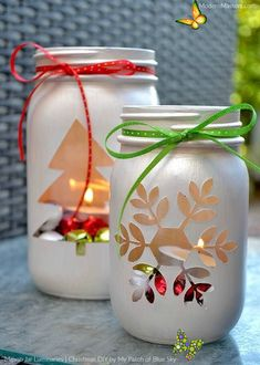 15 BEST Easy Mason Jar Christmas Craft Ideas 15 Easy Mason Jar Christmas Craft Ideas - This Tiny Blue House<br> Easy, simple and most of all budget friendly - these 15 easy mason jar Christmas craft ideas are a great addition to your festive holiday decor. Mason Jar Christmas Crafts, Mason Jar Crafts, Mason Jar Diy, Bottle Crafts, Holiday Crafts, Christmas Diy, Party Crafts, Modern Christmas, Christmas Lantern Diy