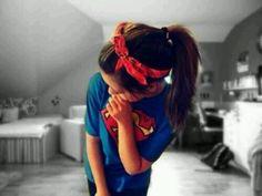 Superman shirt & bandana.