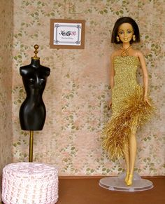 Doll dress 12 inch, Gold knit dress and black shoes for Barbie, Unique gift for birthday, collectibles