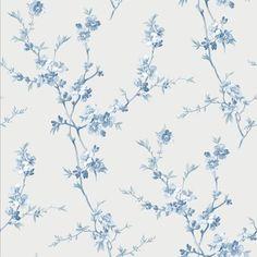 Chesapeake Cherry Blossom Light Blue Trail Wallpaper