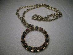 """Vintage Goldtone Sarah Coventry Faux Gemstone Circle Pendant 23"""" Necklace #SarahCoventry #26chunkychainwith2circlependant"""