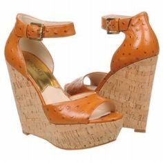 Authentic Michael Kors Ariana Leather Wedges Authentic Michael Kors Ariana Ostrich Effect Leather Wedge Sandals; tan leather; 4 in. wedge; platform MICHAEL Michael Kors Shoes Wedges