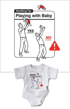Safe Baby Handling Tips Bundle - Playing with Baby - Baby do's and don'ts from wry baby's own Dave and Kelly Sopp   #babytips #instructions #rookie #newparents #funnybaby #baddad #newdad