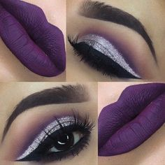 Purple glitter cut crease eye makeup