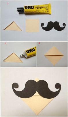 Marca página de papel com bigodinho | Pra Gente Miúda