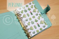 Cactus dividers printable for personal size binder organizer, handdrawn planner accessories, cactus succulent