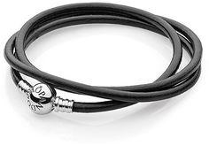 Pandora Design Bracelet - Black Leather Triple Wrap Strength with Sterling Silver Clasp on shopstyle.com