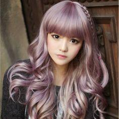 Japanese Harajuku Zippe mix Purple Gradient 60cm curly Cosplay Wig