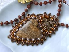 Bead embroidered Pendant necklace GOLD OBSESSION jasper by Maewa, €52.00